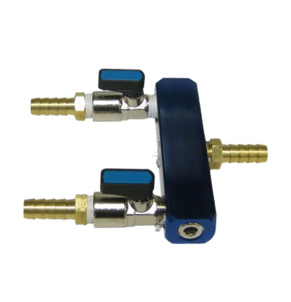 "Two-way air splitter 1/4"" x 3/8"" (for rocking piston compressors)"