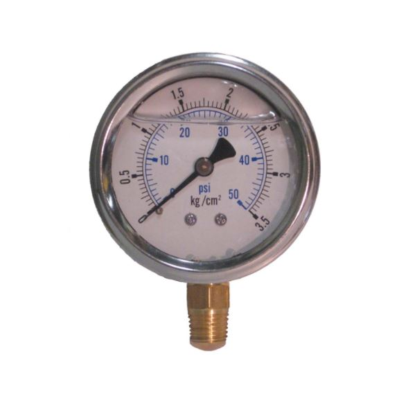 "0-50 PSI liquid filled gauge 1/4"" npt"