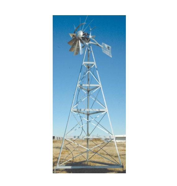 WM24P 24′ Three-legged windmill assembly with Poly Tubing